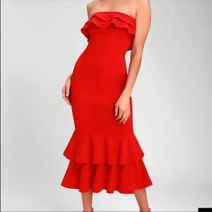 red midi strapless dress